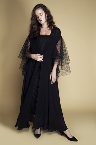 Ruffle-Sleeved Flared Web Lace and Chiffon Abaya