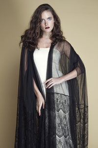 Scallop Lace and Tulle Farasha Abaya