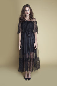 Sheer-Paneled V-Neck Scallop Lace and Tulle Dress