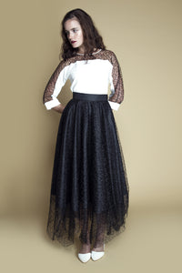Handkerchief-Hem Layered Web Lace Skirt