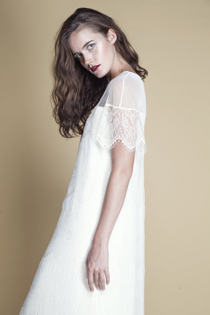 Sheer-Paneled Scallop Lace Dress