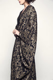 Black and Gold Brocade Organza Abaya