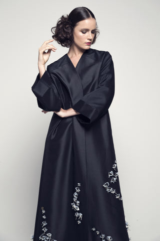 Sequin Flower-Embellished Taffeta Abaya