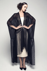Gathered-Seam Lace and Chiffon Abaya