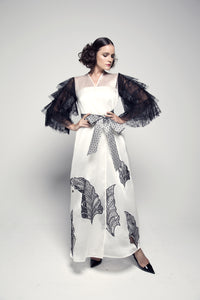 Machine-Embroidered Tiered-Sleeve Organza Abaya