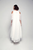 Open-Shoulder Layered Floral Organza Dress