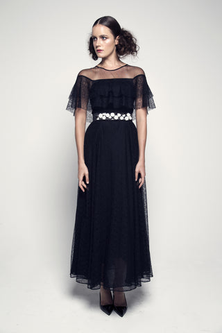 Sheer-Paneled Layered Lace Dress