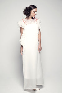 Sequin Flower-Embellished Ruffle-Sleeved Organza Dress