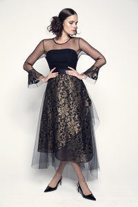 Asymmetric-Hem Black and Gold Brocade Organza Dress