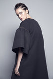 Puff-Sleeved Flared Matelasse Abaya