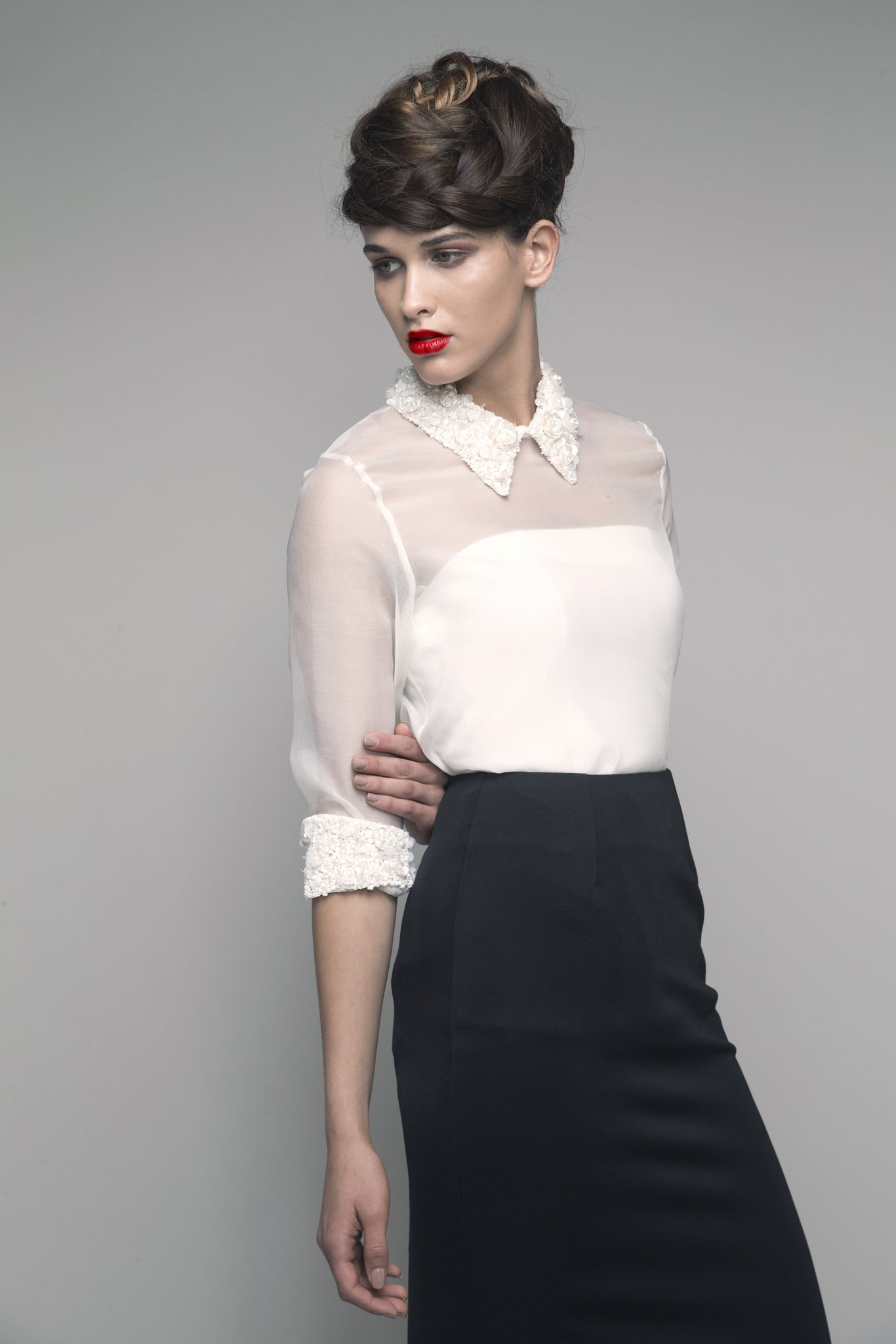 Embroidered Collared Sheer Organza Top