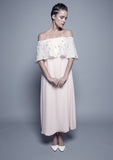 Off-The-Shoulder Machine-Embroidered Organza and Chiffon Dress