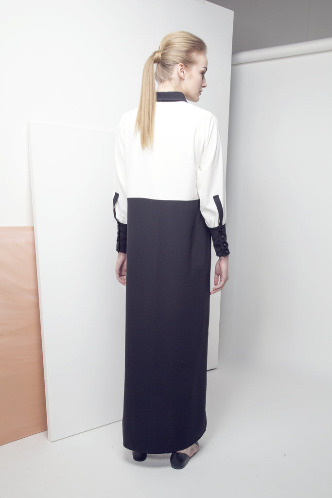 Embellished Two-Tone Button-Down Crepe Abaya