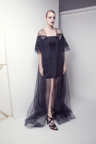 Embroidered short-sleeved Tulle Abaya