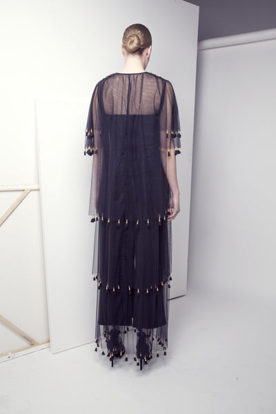 Pearl and Tassel-Embellished Layered Tulle Abaya