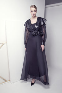 Front-Bow Sheer Black Sequined Abaya