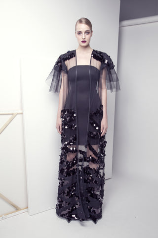 Sequined Flared Tulle Abaya