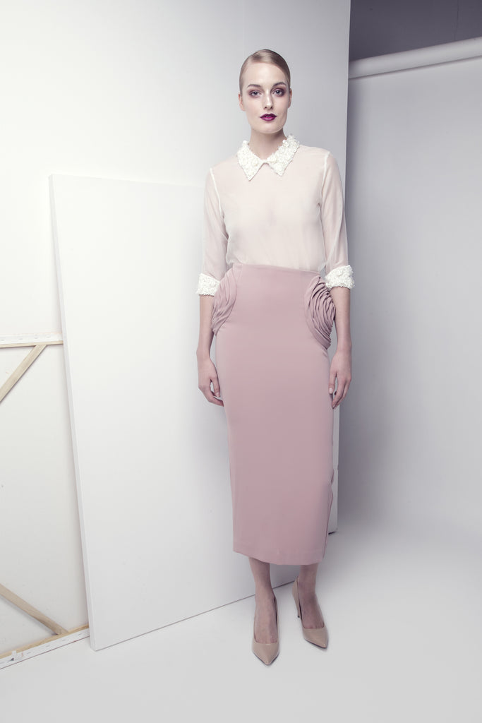 Crepe Rose Pencil Skirt