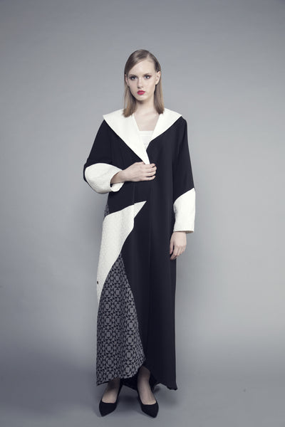 Three-Toned Geometric Crepe Abaya