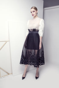 Ribbon-Embroidered Mesh Skirt