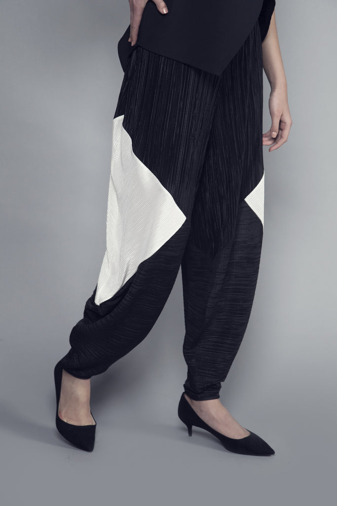 Two-Tone Satin Pleated Pants