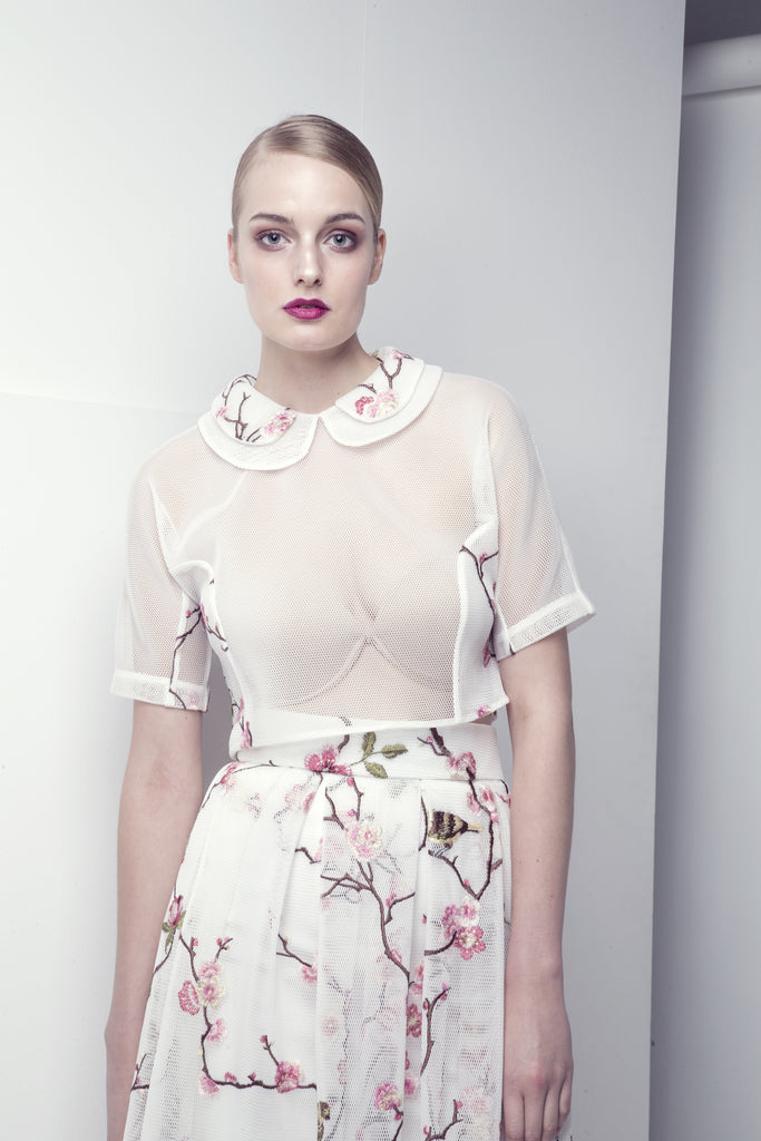 Floral-Embroidered Mesh Skirt