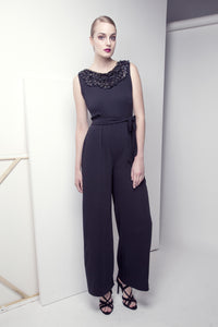 Embroidered Crepe Jumpsuit
