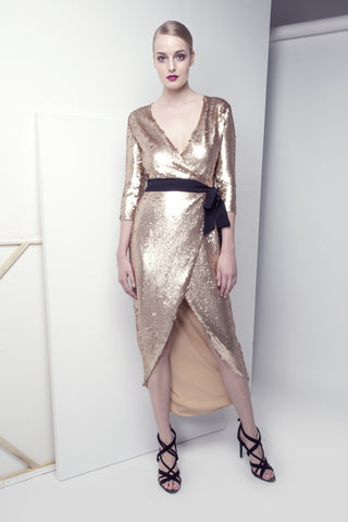 Open-Back Gold Sequined Dress