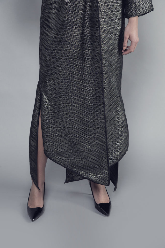 Black and Gold Striped Tweed Pointed Abaya