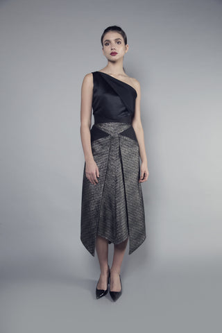 Pocket-Front Black and Gold Tweed Skirt