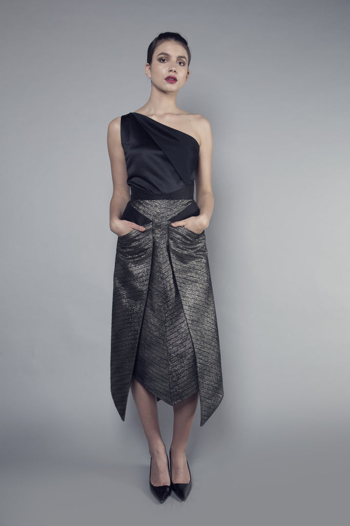 One Sleeve Taffeta Top