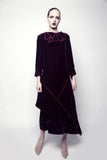 Asymmetric Machine Embroidered Velvet Dress