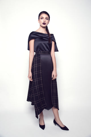 Pointed-Hem Black Tweed and Taffeta Skirt