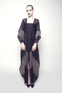 Two-Toned Sheer Pleated Abaya