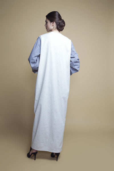 Patch-Pocket Color-Block Denim Abaya