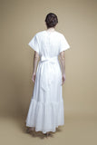 Belted White Cotton Eyelet Kaftan