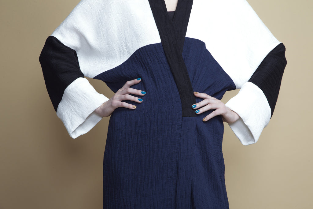 Color-Block Micropleat Abaya