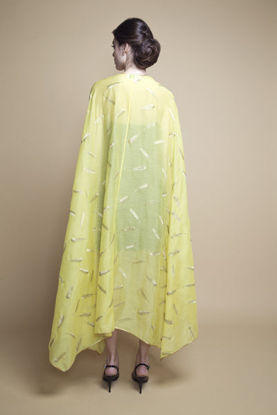 Handkerchief-Hem Feather-Embroidered Abaya