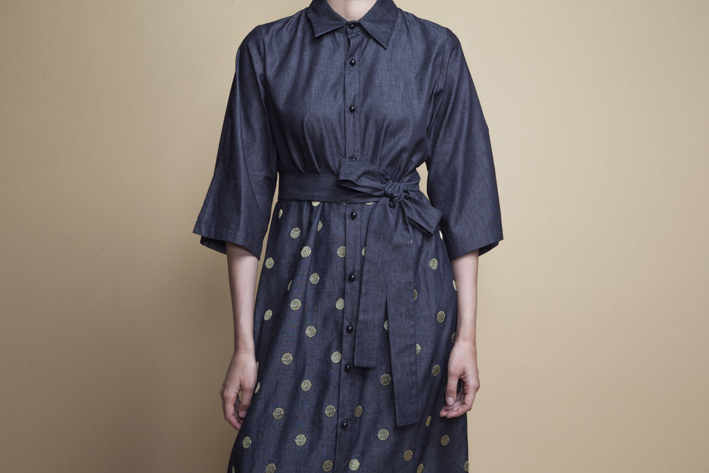 Point-Collar Polka-Dot Dress