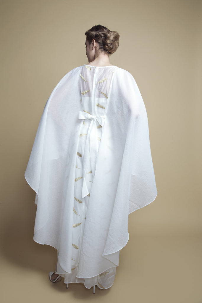 Cape-Style Feather-Embroidered Kaftan
