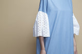 Gathered-Seam White Cotton Eyelet and Denim Kaftan