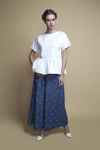 Gathered-Seam White Cotton Top