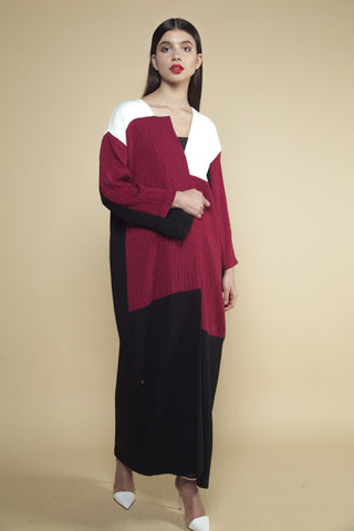 Three-tier Color Micropleat Abaya