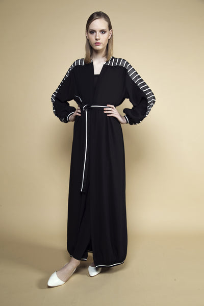 Stripe Mesh and Black Crepe Abaya