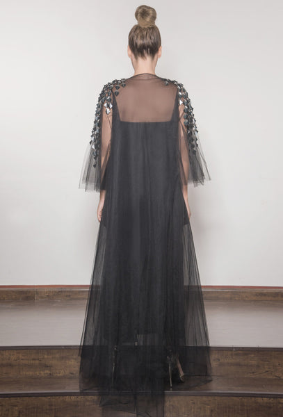 Evening Tulle Embroidered Abaya