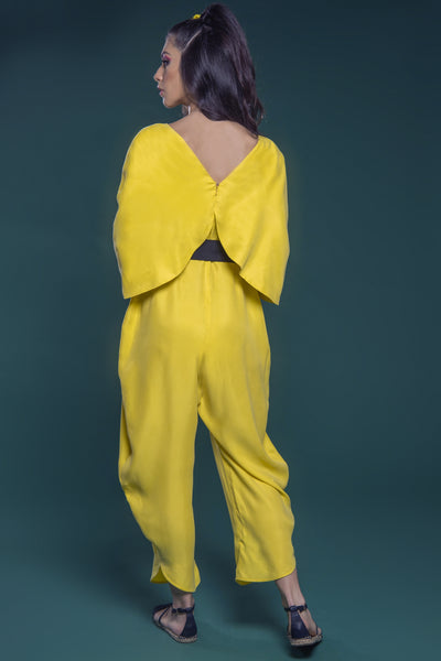 Jumpsuit with Overlaying Cape Sleeves