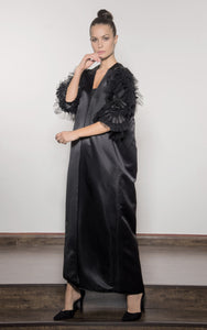 Straight Cut Tafetta Abaya with Tulle Embroidered Sleeves