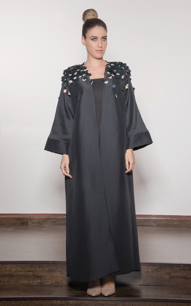 Taffeta Structured Abaya w/ Full Embroidered Shoulder