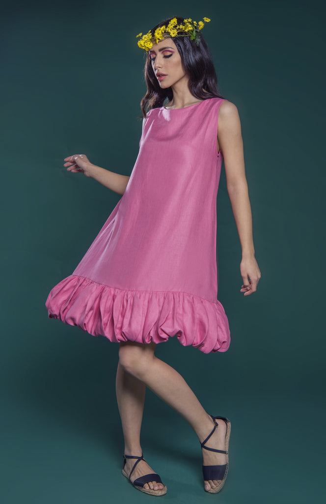 Tulip Petal Pleated Hem Dress
