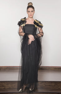 Tulle Shawl Abaya with Embroidered Shoulders
